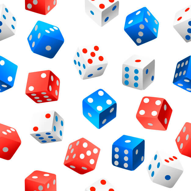 Seamless pattern. casino dice collection of authentic icon