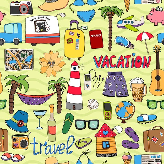Seamless vector tropical vacation and travel pattern
