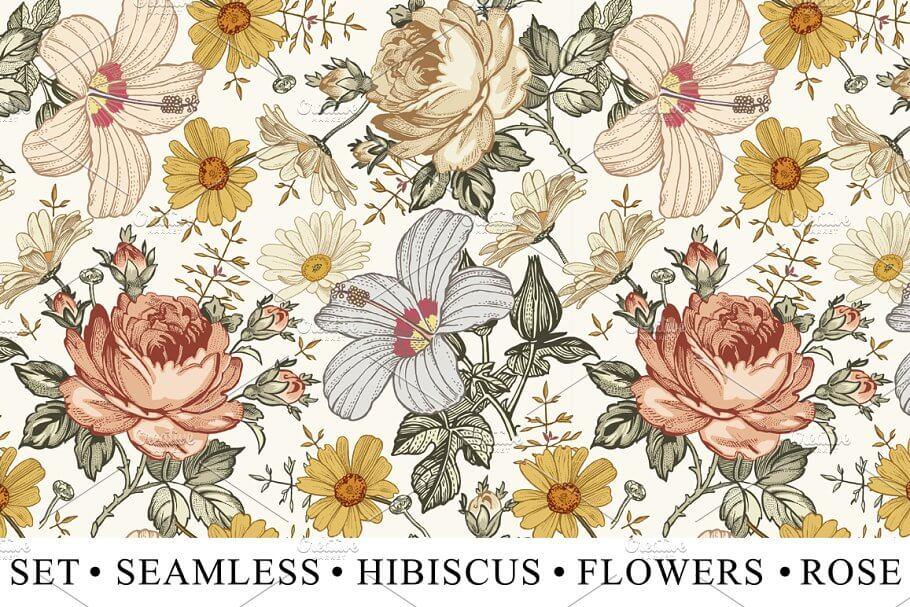 Set Seamless Flowers Rose Hibiscus