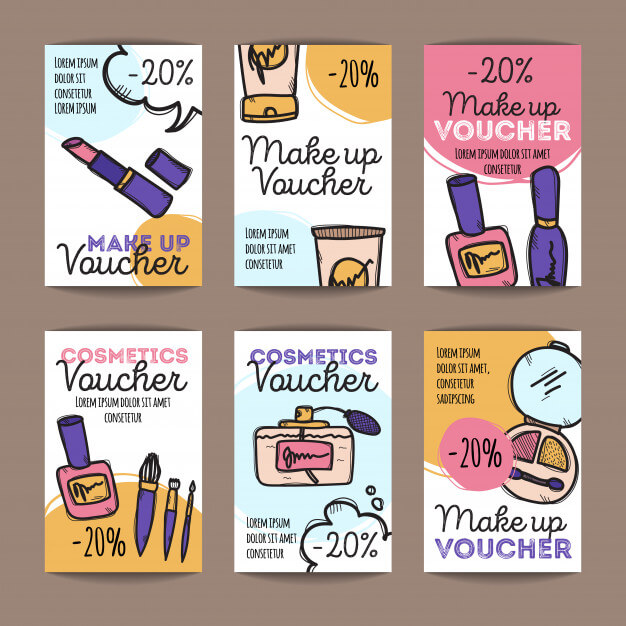 Set of discount coupons for make up products Premium Vector