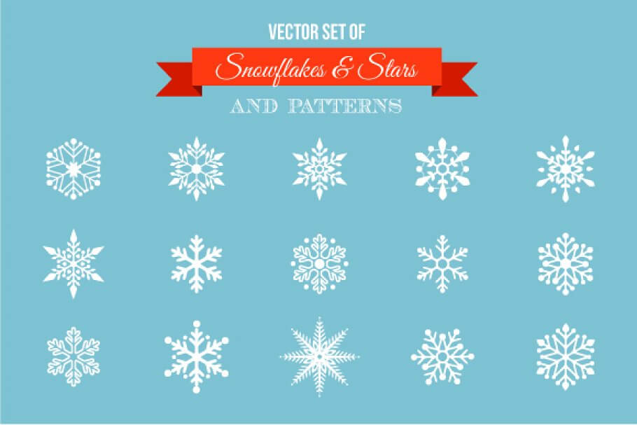 Snowflakes - stars icons & patterns