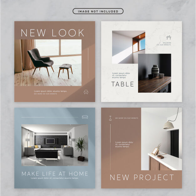 Social media post minimal furniture theme Premium Psd