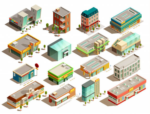 Store buildings isometric icons set Free Vector