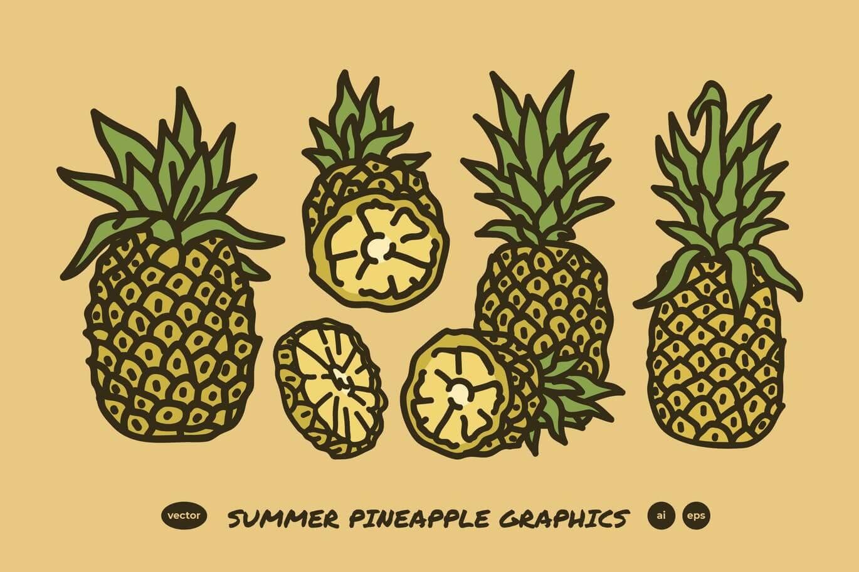 Summer Pineapple Line Art Drawing