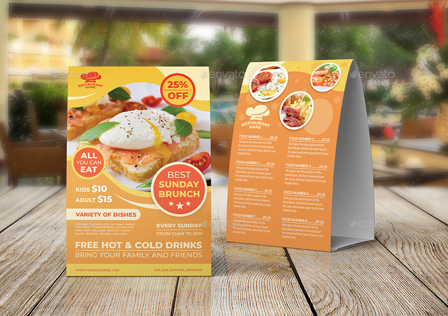 Sunday Brunch Table Tent Templates