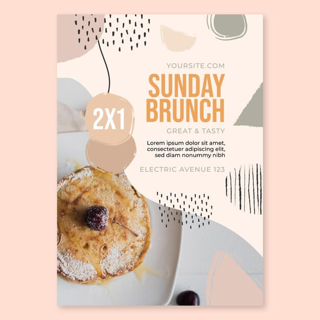 Sunday brunch food restaurant flyer template Free Vector