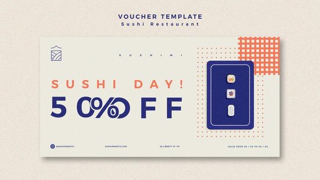 Sushi restaurant voucher template Free Psd