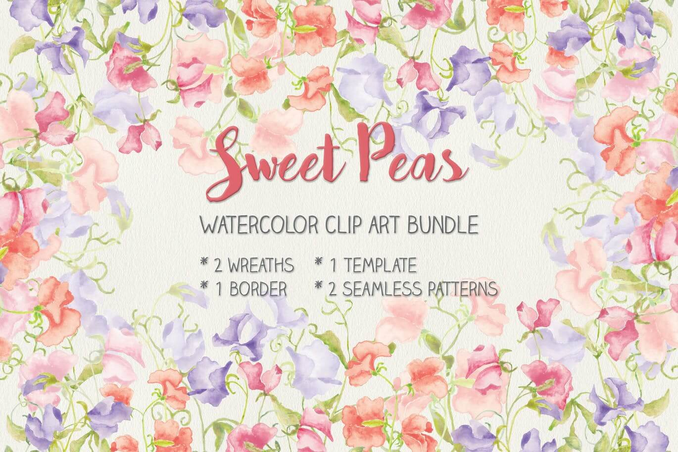 Sweet Peas Clip Art and Patterns in Watercolor