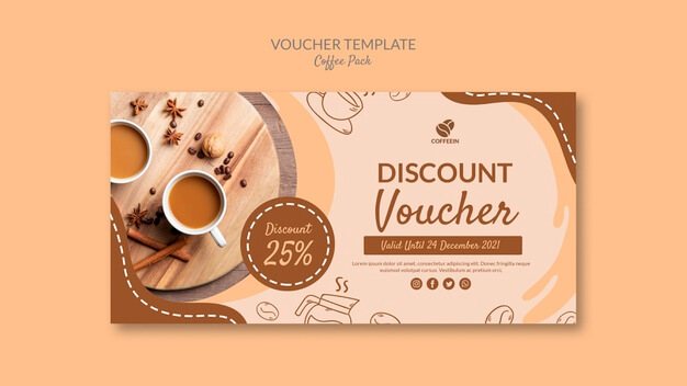 Top view voucher coffee pack template Free Psd (1)