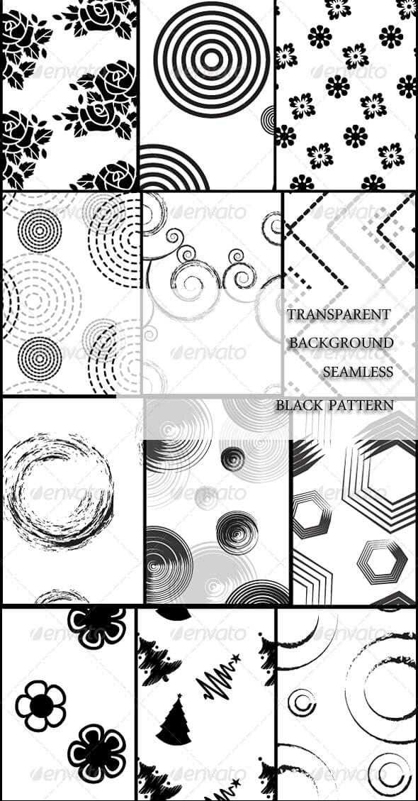 Transparent Background Seamless Black Pattern