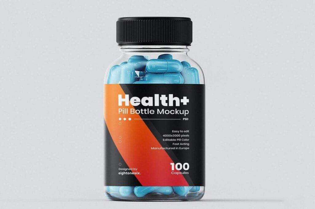 Transparent Pill Bottle Mockup Template