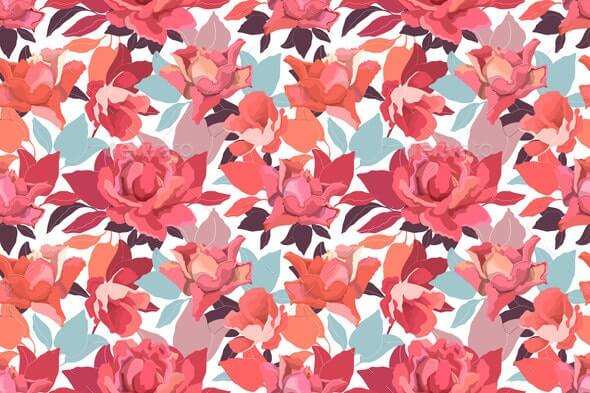 Vector Floral Seamless Pattern with Roses. Garden