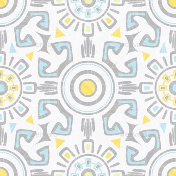 Vector Grey Blue Yellow Tribal Seamless Pattern1