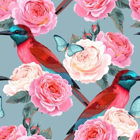 Vector Seamless Pattern with Birds and Roses