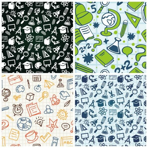Vector Seamless Patterns with Education Icons