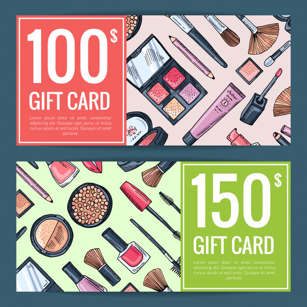 Vector gift card vouchers for beauty