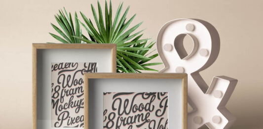 Vertical Wood Frame Mockup PSD Template