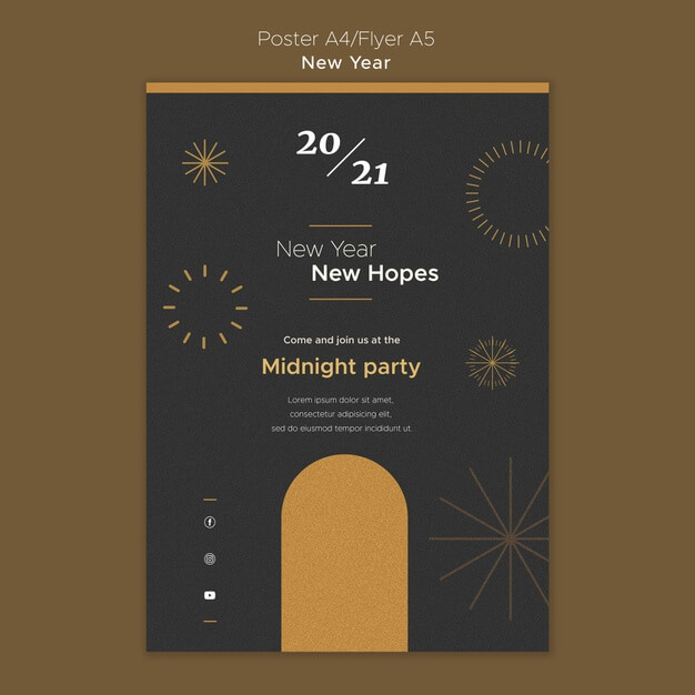 Vertical poster for new year's midnight party Free Psd