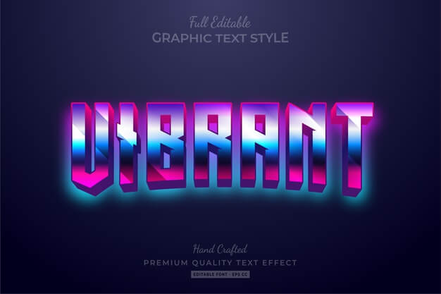 Vibrant gradient 80's retro editable text style effect premium Premium Vector