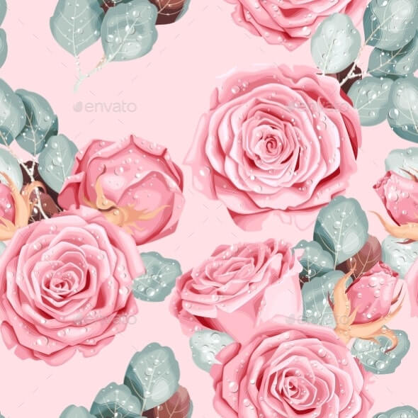 Vintage Vector Seamless Pattern with Pink Roses