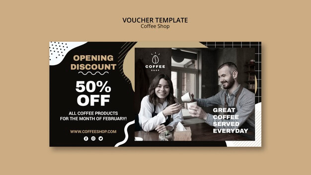 Voucher template concept for coffee shop Free Psd (1)