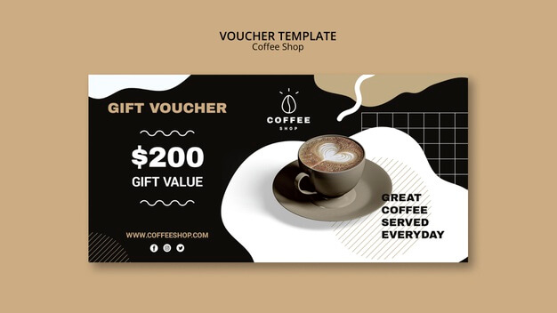 Voucher template design for coffee shop Free Psd (1)