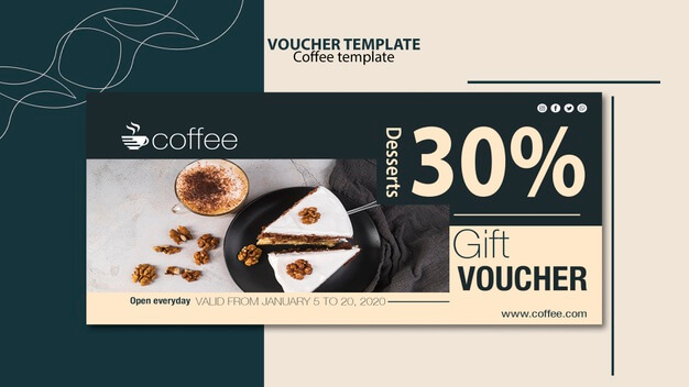 Voucher template theme with coffee Free Psd (1)