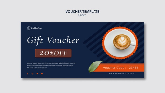 Voucher template with coffee Free Psd (1)