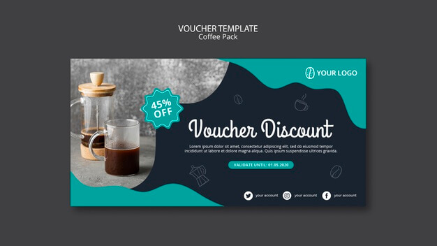 Voucher template with coffee theme Free Psd (1)