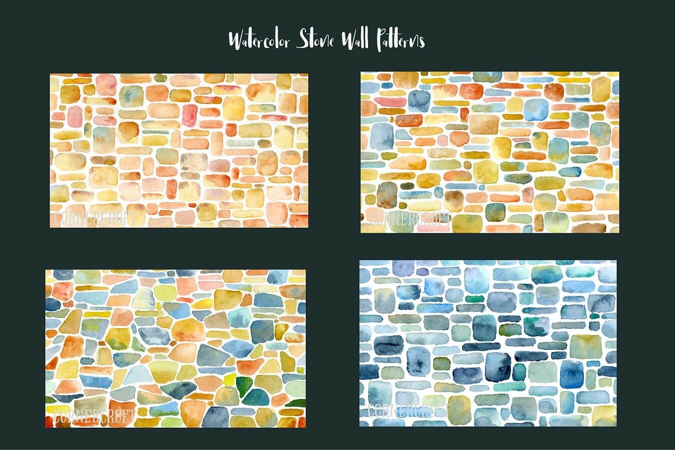 Watercolor Stone Wall Patterns