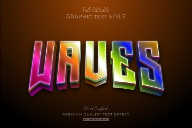 Waves 80's gradient editable text effect Premium Vector