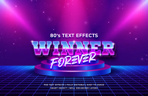 Winner forever 80's retro text effect Premium Psd