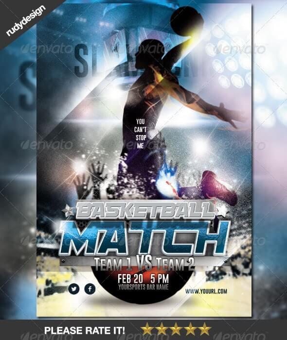 Basketball Match Night Flyer Design