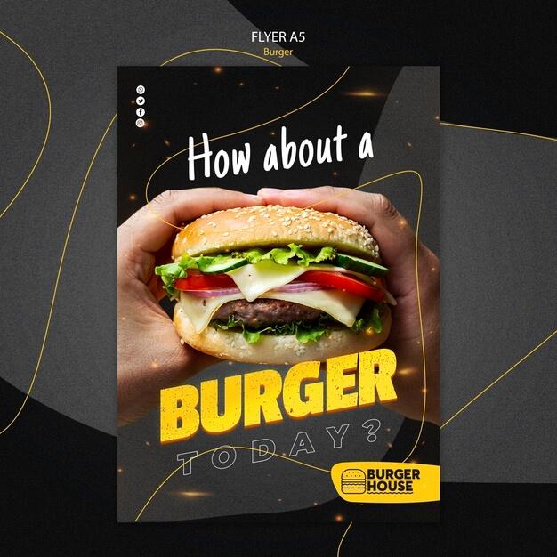 Burger flyer template design Premium Psd