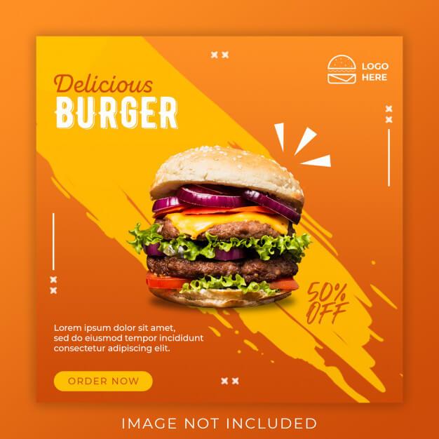 Burger menu promotion banner template Premium Psd