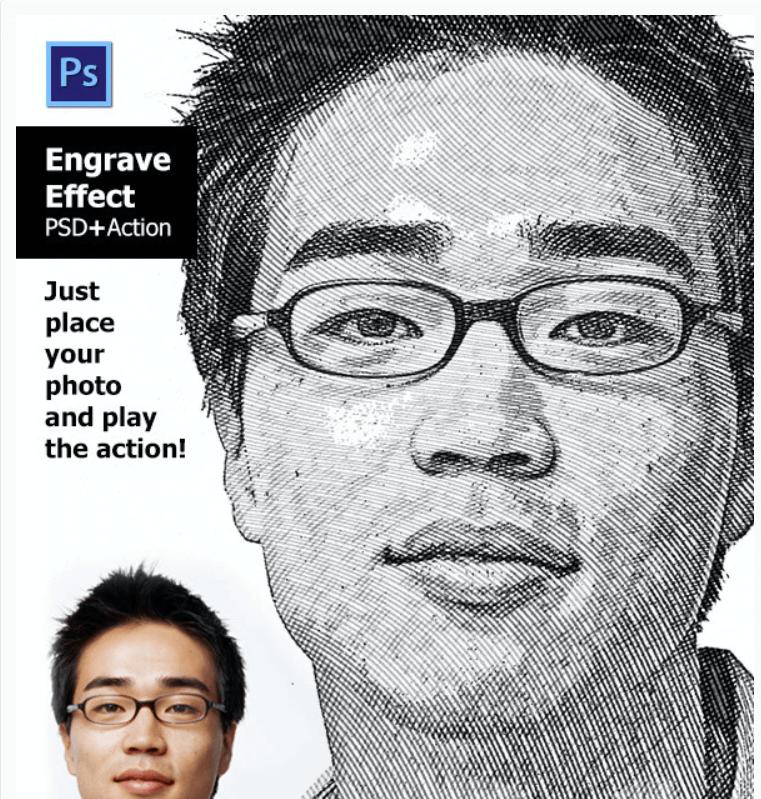 Engrave Effect Photoshop Action