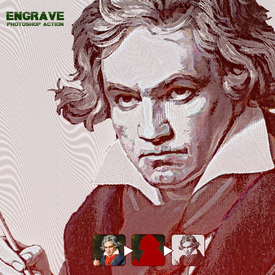 Engrave Photoshop Action1