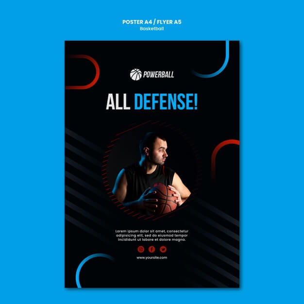 Flyer template for basketball game playing Free Psd