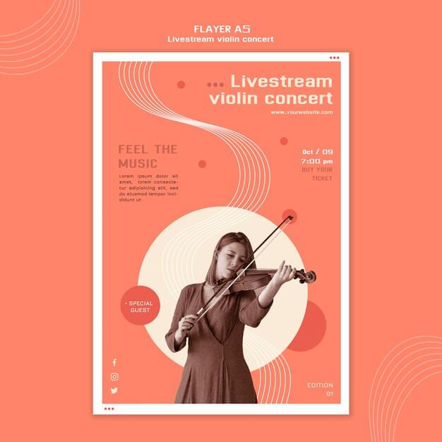 Flyer template livestream violin concert Free Psd