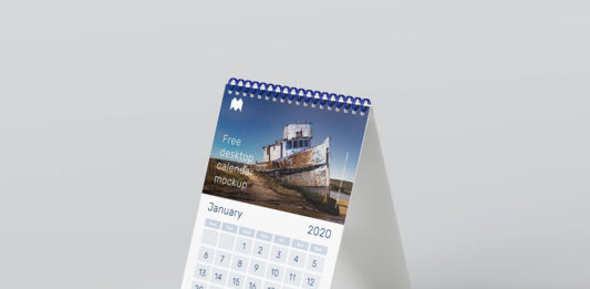 Free A5 Desk Calendar Mockup PSD Template