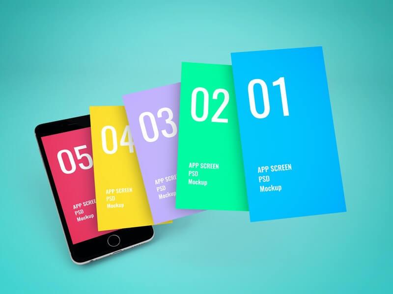 Free App Screen Showcase Mockup PSD Template