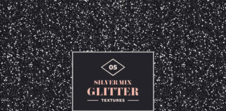 Free Attractive 5 Silver Mix Glitter Texture Mockup PSD Template
