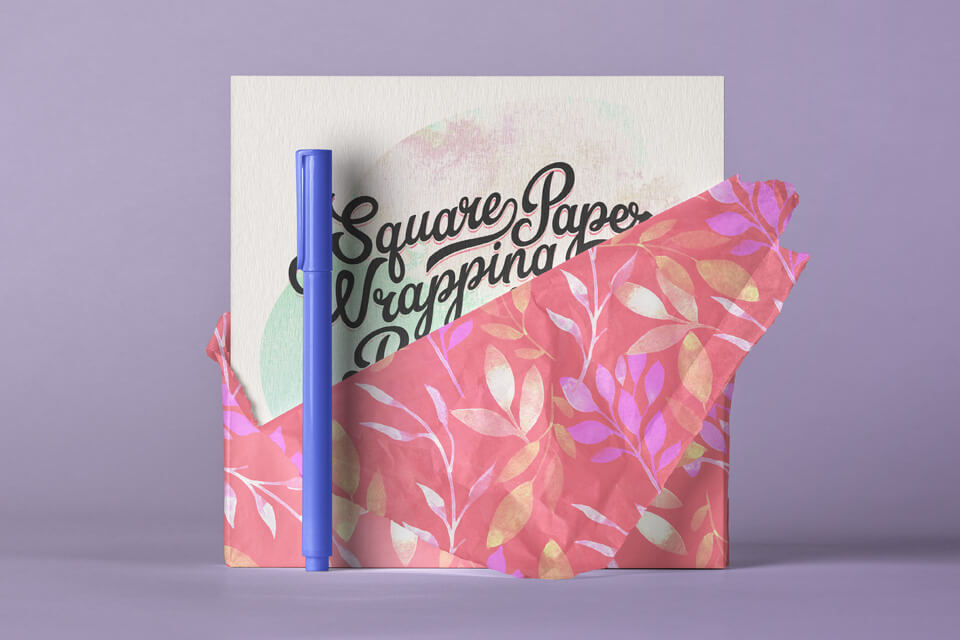 Free Beautiful Square Invitation Card Paper Wrap Mockup PSD Template