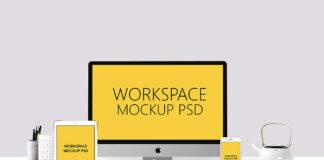 Free Beautiful Workspace Mockup PSD Template