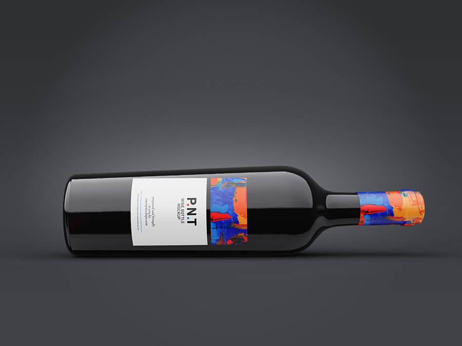 Free Black Wine Bottle Mockup PSD Template2