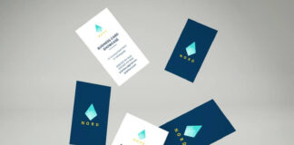 Free Blue & White Falling Business Cards Mockup PSD Template