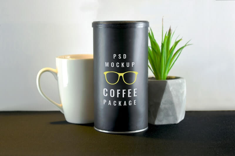 Free Coffee Tube Package Mockup PSD Template