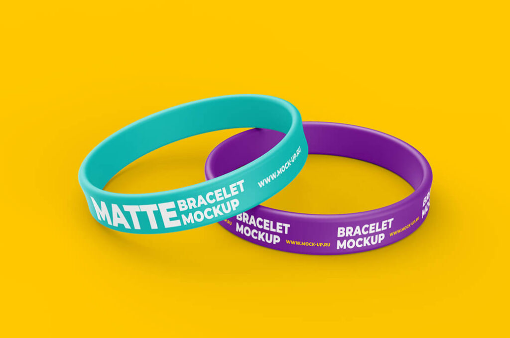 Free Colorful Thin Bracelet Mockup PSD Template