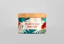 Free Customizable Plastic Jar Mockup PSD Template