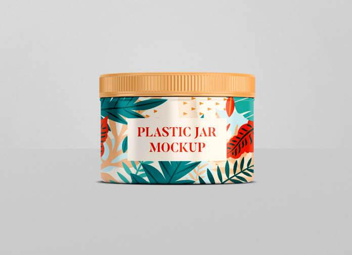 Free Customizable Plastic Jar Mockup PSD Template